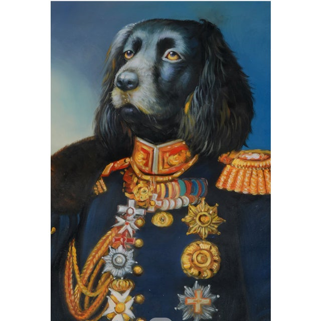Original oil painting on unstretched canvas of a dog in a military uniform. Depicts a long-eared black and gray dog in...