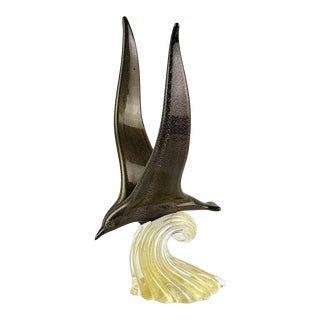 Archimede Seguso Murano Signed Vintage Black Gold Italian Art Glass Seagull Sculpture For Sale