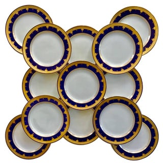 12 Cobalt Blue Dinner Plates For Sale