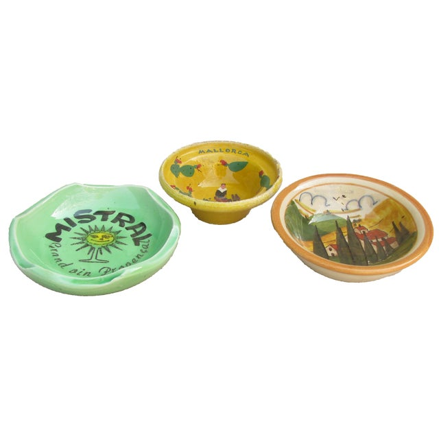 Trio of colorful and bright souvenir bowls / ashtrays from Italy, France, and Mallorca. Perfect for to display in a...