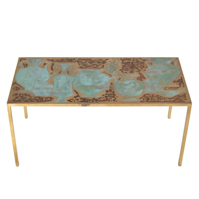 Rare Harvey Probber Acid-Etched and Patinated Bronze Sofa Table, Circa 1960s For Sale