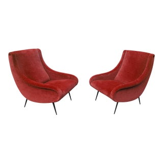 1950s Danish Modern Lipstick Cotton Velvet Armchairs - a Pair