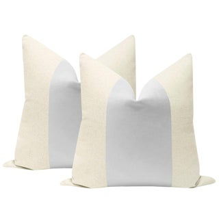"22"" Dove Gray Velvet Panel & Linen Pillows - a Pair For Sale"