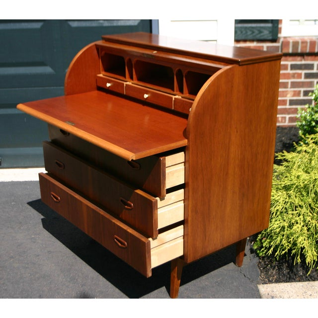Impeccable Danish rolltop desk with rosewood diamond pattern and beautiful wood grain. Very little use noted if any at...