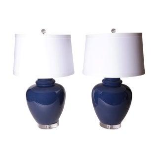 Vintage Cobalt Blue Ginger Jar Lamps - Pair For Sale