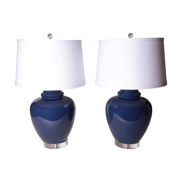 Vintage Cobalt Blue Ginger Jar Lamps - Pair - Image 1 of 6