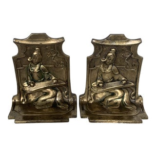 1920s Antique Chinoiserie Bronze Madrigale Bookends by Pompaian-a Pair For Sale