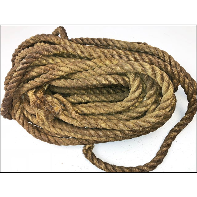 Brown Vintage Nautical Woven Hemp Rope For Sale - Image 8 of 11