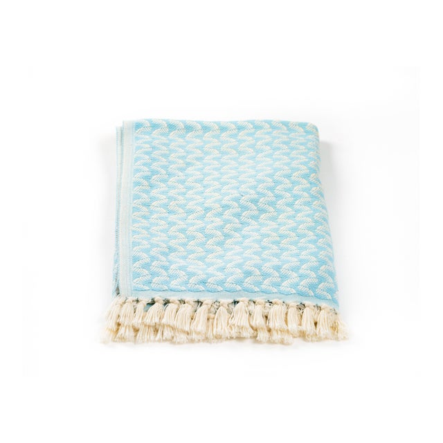 Modern Silent Ripple Handmade Organic Cotton Towel in Powder Blue For Sale - Image 3 of 9