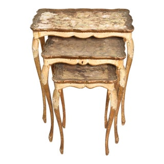 Italian Neoclassical Gilt Florentine Nesting Tables - Set of 3 For Sale
