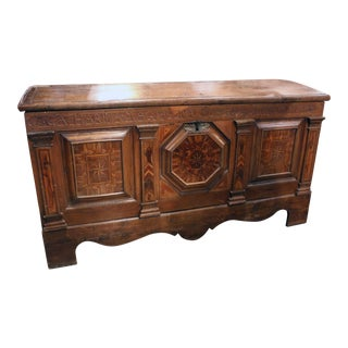 German Dome Top Oak Marquetry Marriage Chest / Coffer For Sale
