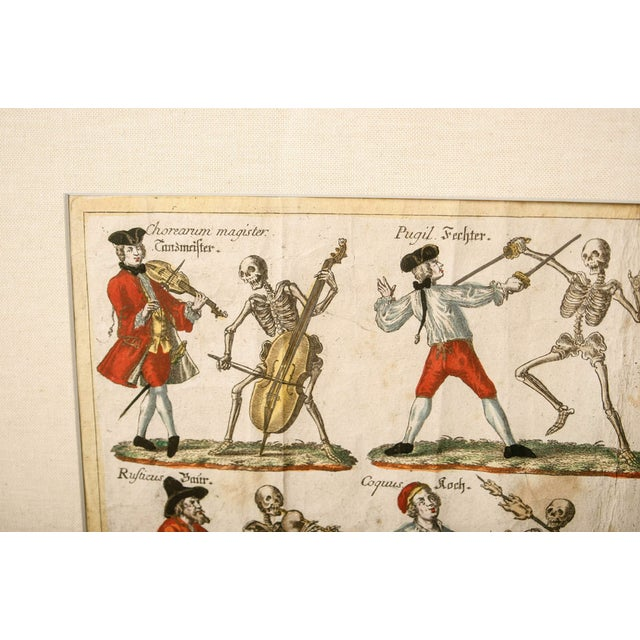"Metal 19th Century German ""Dance With Death"" Aquatints Prints - a Pair For Sale - Image 7 of 10"