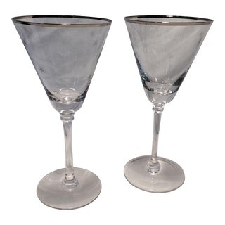 Pair of Etched Atomic Starburst Platinum Rim Toasting Glasses - Tall For Sale