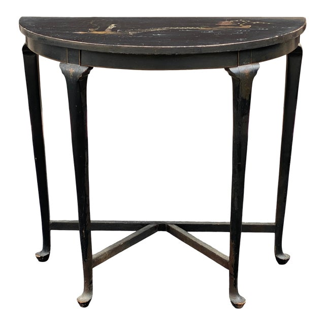 Antique Chinoiserie Demilune Accent Table For Sale