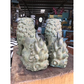 1970's Vintage Bronze Temple Foo Dogs-a Pair Preview