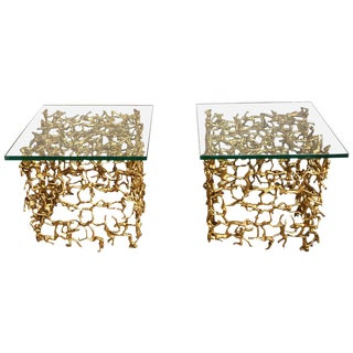 Pair of Mid-Century Modern Brass Human Figural Cube Tables or Coffee Tables For Sale