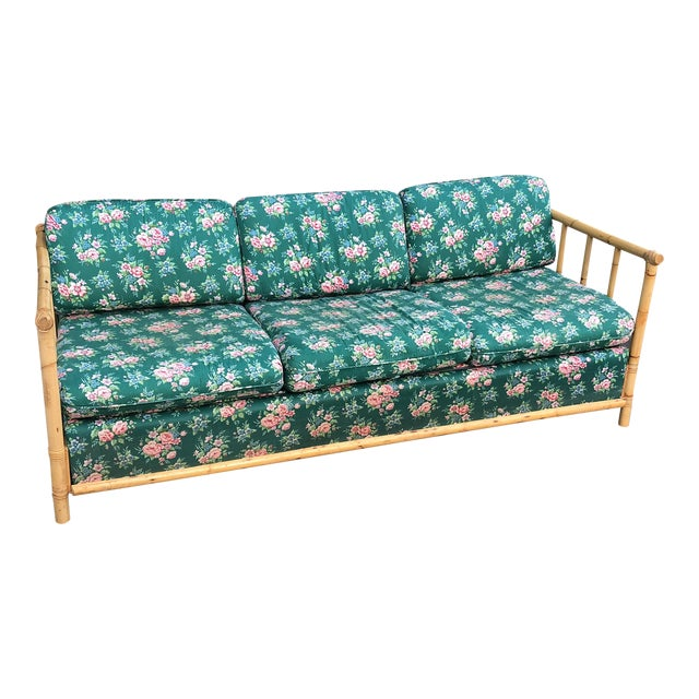 Bamboo Chintz Green Upholstered Sleeper Sofa - Image 1 of 5