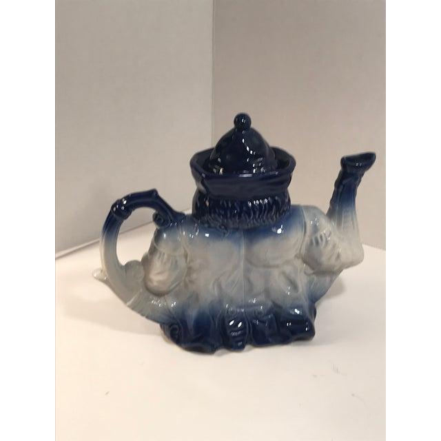 Blue Antique Victorian Staffordshire Parliament Judge Flow Blue Toby Teapot For Sale - Image 8 of 8