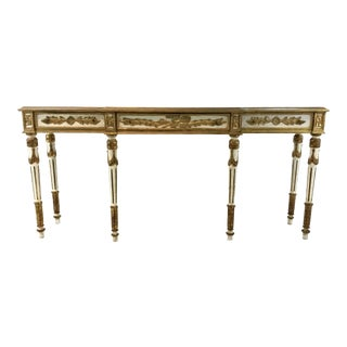 White and Gold Vintage Console Table For Sale