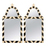 Image of Fabulous Pair of Modern High Style Mirrors in Cream and Black