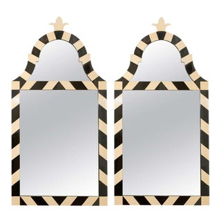 Fabulous Pair of Modern High Style Mirrors in Cream and Black
