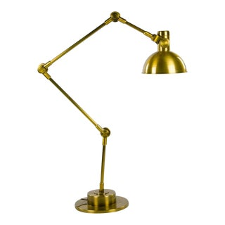 Modern Industrial Style Brushed Brass Jointed Floor Lamp For Sale