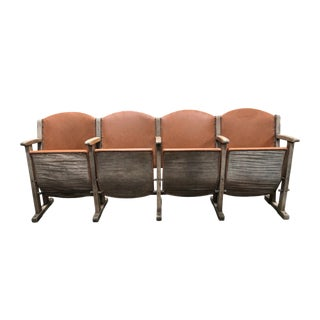 1930s Vintage Caramel Colored Leather Theater Seats- Set of 4 For Sale