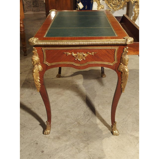 Circa 1900 French Louis XV Style Bureau Plat Writing Desk For Sale In Dallas - Image 6 of 13