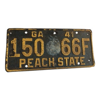 Vintage 1941 Georgia License Plate For Sale