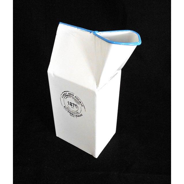 Modern Metal Enamel Milk Carton Vase | Chairish