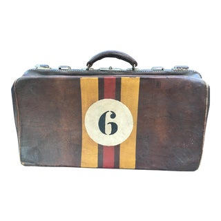 1940's English Leather Suitcase For Sale
