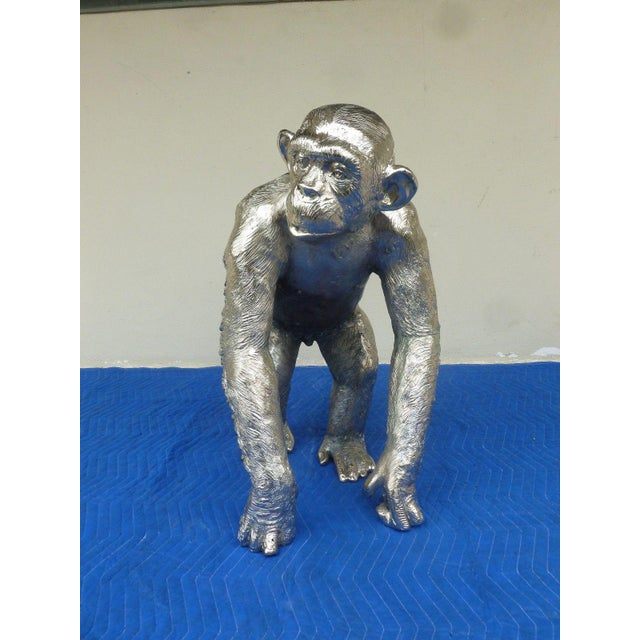 Large Vintage life-size nickel plated bronze chimpanzee or monkey estate fresh from a garden standing 31 inches high x...
