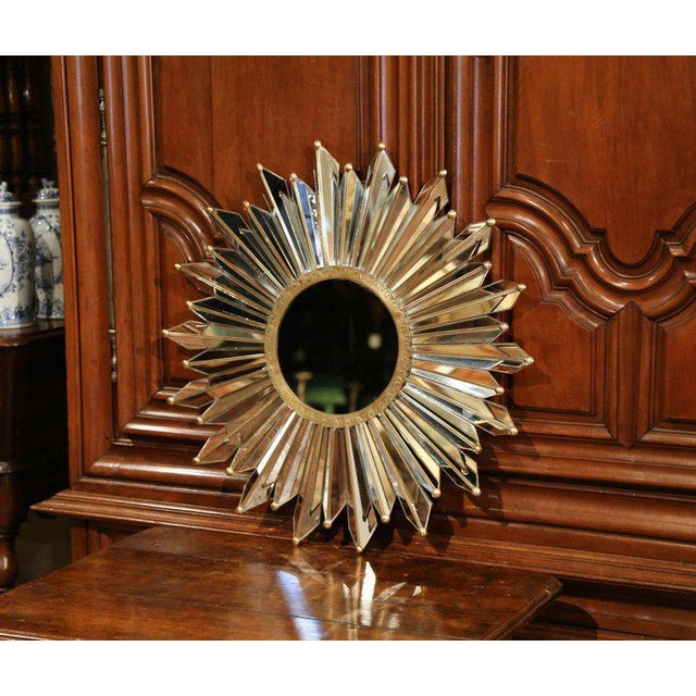 Brass Early 20th Century French Brass Sunbust Mirror With Glass Beams From Paris For Sale - Image 7 of 7