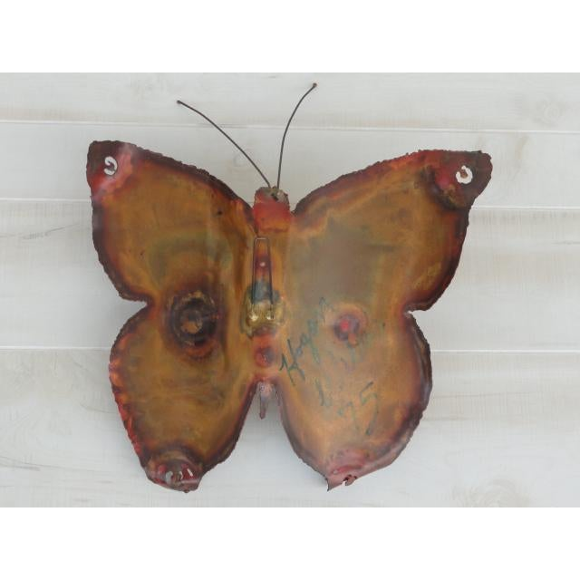 Mid-Century Modern Signed by Artist Copper Butterfly Metal Wall Sculpture For Sale - Image 10 of 13
