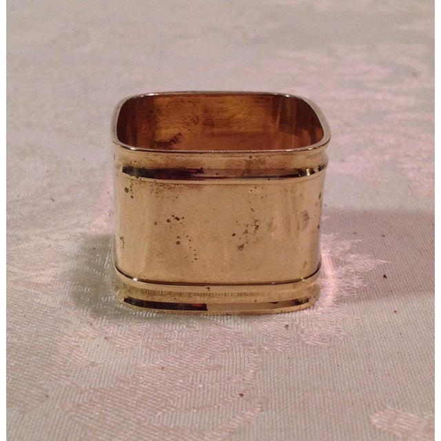 Mid-Century Modern Square Brass Napkin Rings - Set of 6 For Sale In Dallas - Image 6 of 9
