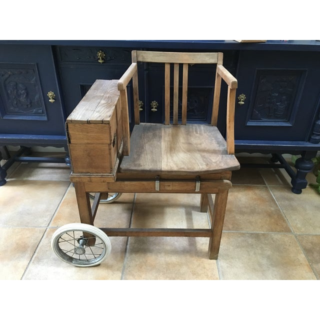 Antique jockey scale (circa 1850) for sale. Constructed of English oak, this scale was used in the mid-1800s thru early...
