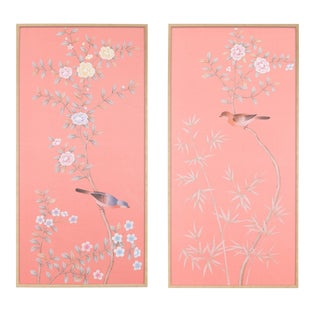 "Simon Paul Scott for Jardins en Fleur ""Luton House"" Chinoiserie Hand-Painted Silk Diptych - a Pair For Sale"