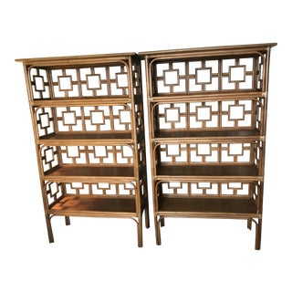 Rattan Etageres by David Francis Furniture - A Pair For Sale