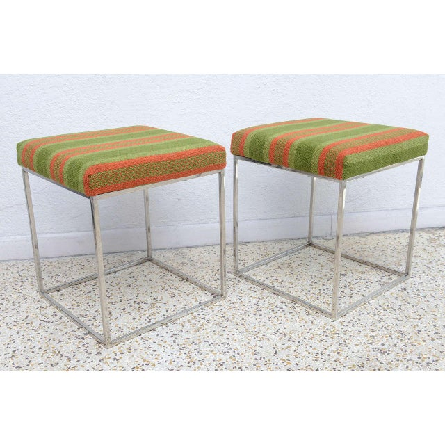 Green 1970s Milo Baughman Mid-Century Polished Chrome Thin Line Stools - A Pair For Sale - Image 8 of 9
