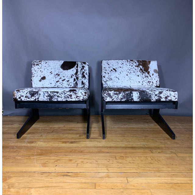 Pair Cowhide & Black Lacquered Lounge Chairs, Germany 1980 For Sale - Image 10 of 10