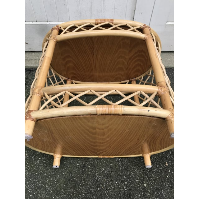 WIllow and Reed Oval Bamboo Side Table For Sale - Image 12 of 13