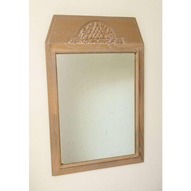 Jamestown Lounge Co. - 1940s Carved Cerused Oak Mirror - Image 2 of 5