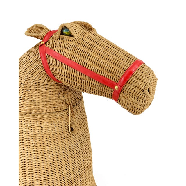 Wicker 1970s Vintage 2-Piece Wicker Horse Hamper For Sale - Image 7 of 8