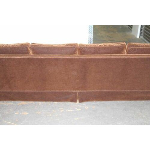 Vintage Newly Reupholstered Chocolate Brown Mohair Sofa For Sale - Image 4 of 8