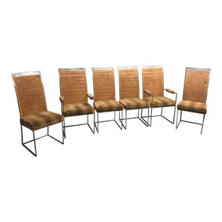 Late 20th Century Milo Baughman for Thayer Coggin Chrome Cane Cack Dining Chairs- Set of 6 For Sale