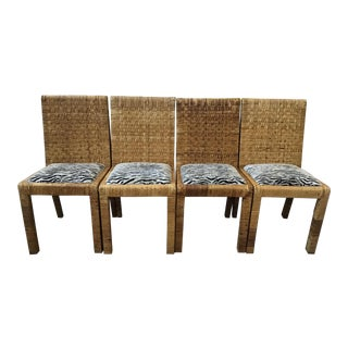 Bielecky Brothers Rattan Side Dining Chairs - Set of 4 For Sale