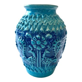 Mid-Century Turquoise Ceramic Vase by Bay, West Germany For Sale