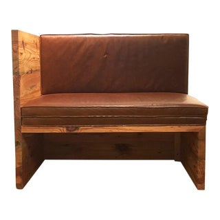 Modern Donald Judd Inspired Solid Pine and Real Leather Bench For Sale