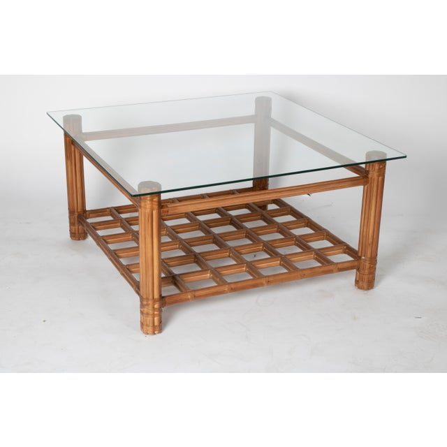 Traditional David Francis Rattan Coffee Table With Glass For Sale - Image 3 of 4
