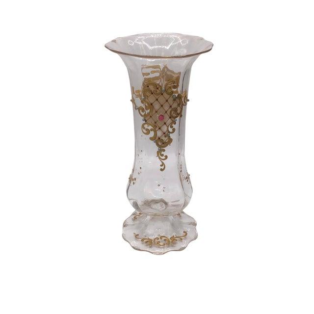 Transparent Moser Jeweled Enameled Crystal Vase For Sale - Image 8 of 8